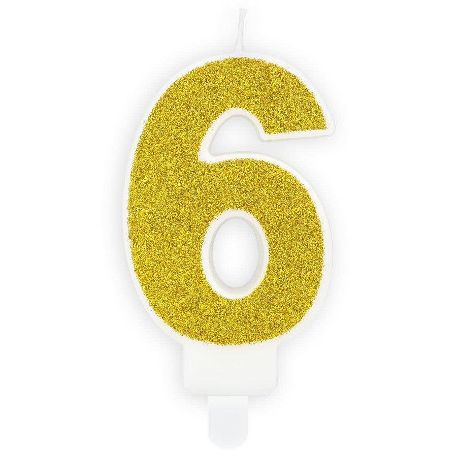 PartyDeco Verjaardag Kaars Nummer 6 - Goud-1