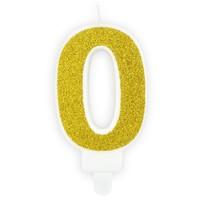 PartyDeco Verjaardag Kaars Nummer 0 - Goud