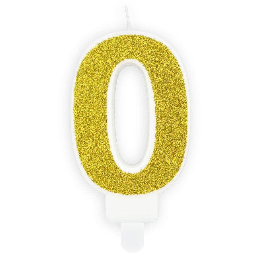 PartyDeco Verjaardag Kaars Nummer 0 - Goud-1