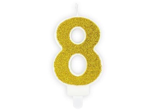 PartyDeco Verjaardag Kaars Nummer 8 - Goud