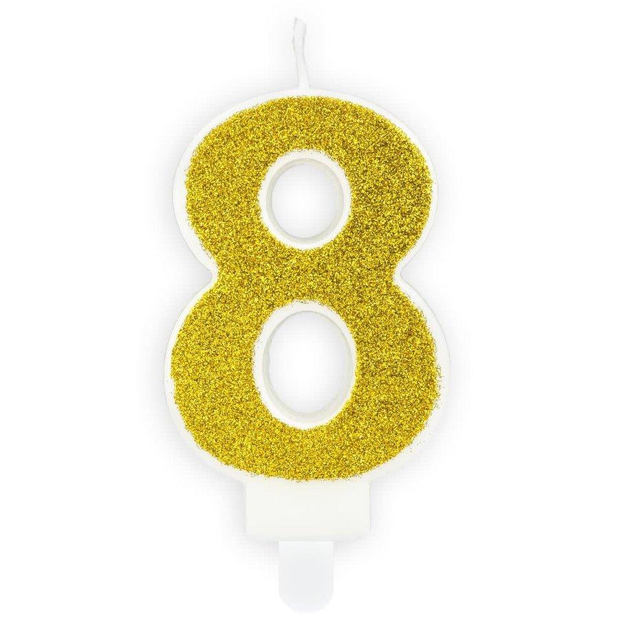 PartyDeco Verjaardag Kaars Nummer 8 - Goud-1