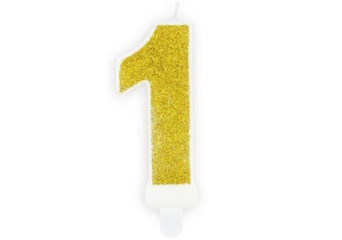 PartyDeco Verjaardag Kaars Nummer 1 - Goud