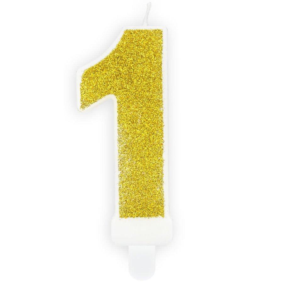 PartyDeco Verjaardag Kaars Nummer 1 - Goud-1