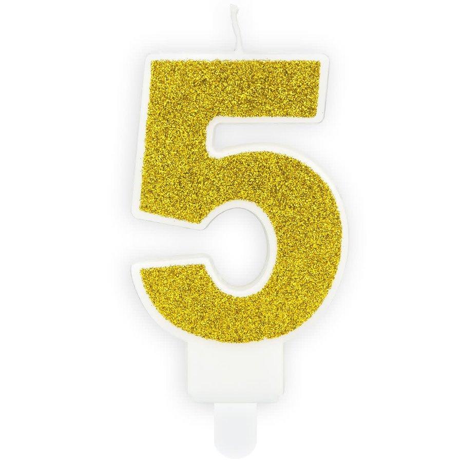 PartyDeco Verjaardag Kaars Nummer 5 - Goud-1