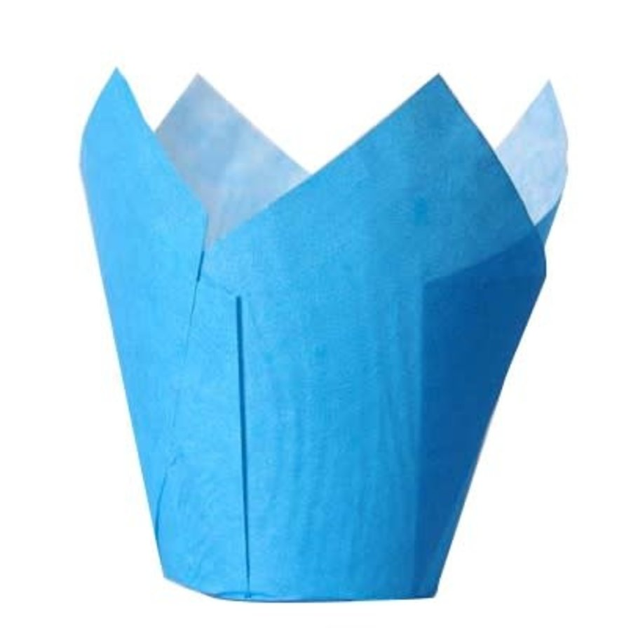 House of Marie Muffin Cups Tulp Blauw pk/36-1