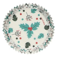 FunCakes Baking Cups -Holly Leaf hulst- pk/48