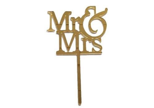 mr & mrs topper acryl goud
