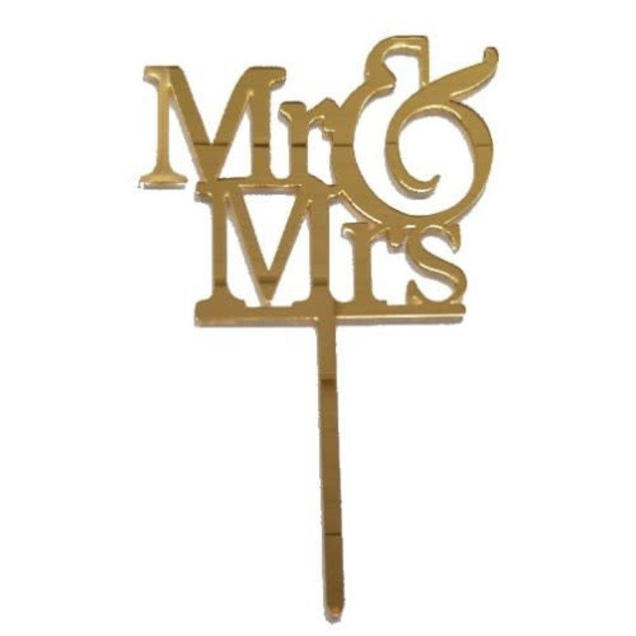 mr & mrs topper acryl goud-1