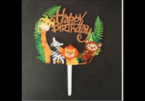 Cake topper Happy birthday safari animals