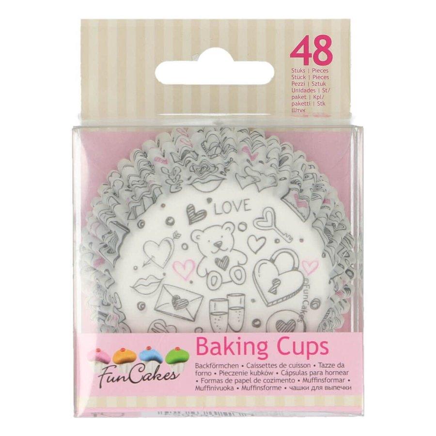 FunCakes Baking Cups -Love Doodle- pk/48-1