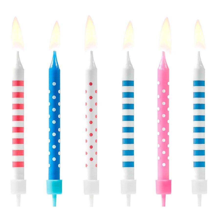 PartyDeco Verjaardag Kaarsen Stippen & Strepen Blauw/roze-2