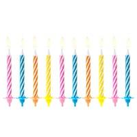 PartyDeco Verjaardag Kaarsen Gekleurd pk/10
