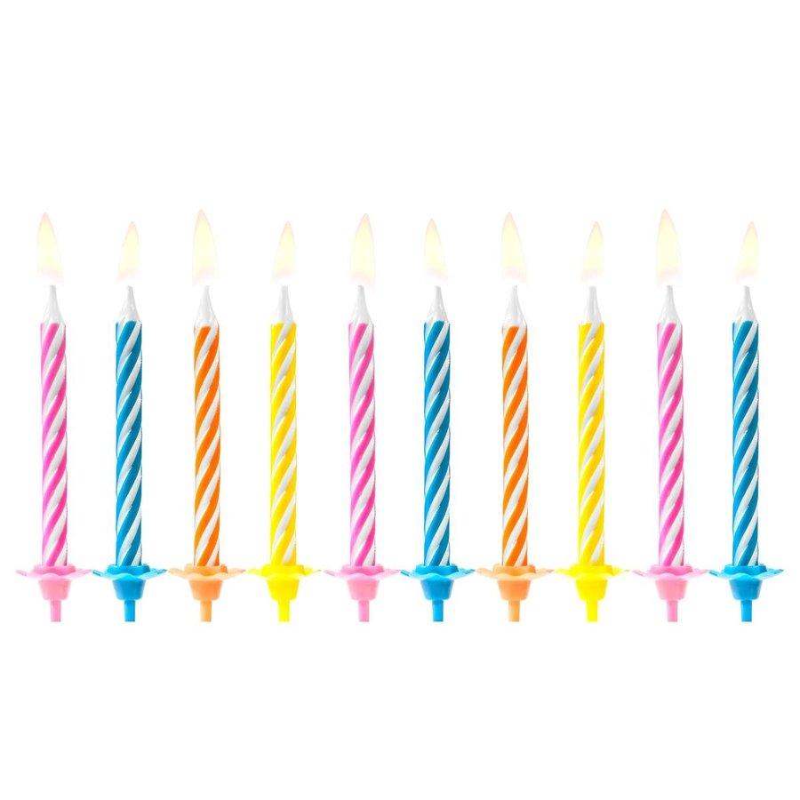 PartyDeco Verjaardag Kaarsen Gekleurd pk/10-1
