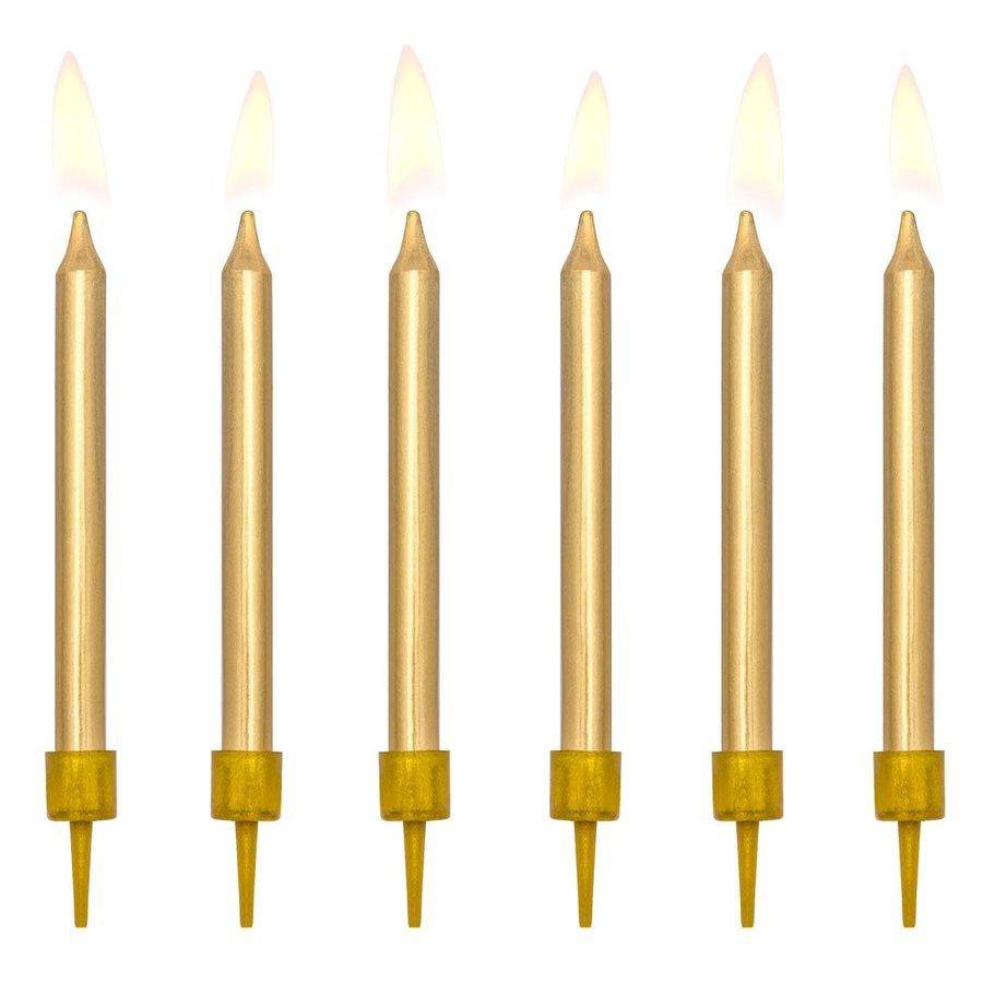 PartyDeco Verjaardag Kaarsen goud 6cm pk/6-1