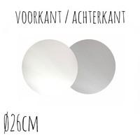 Taartonderzetter Wit / Zilver Ø26 cm per stuk
