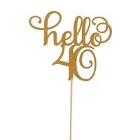 Hello 40 taart topper glitter goud