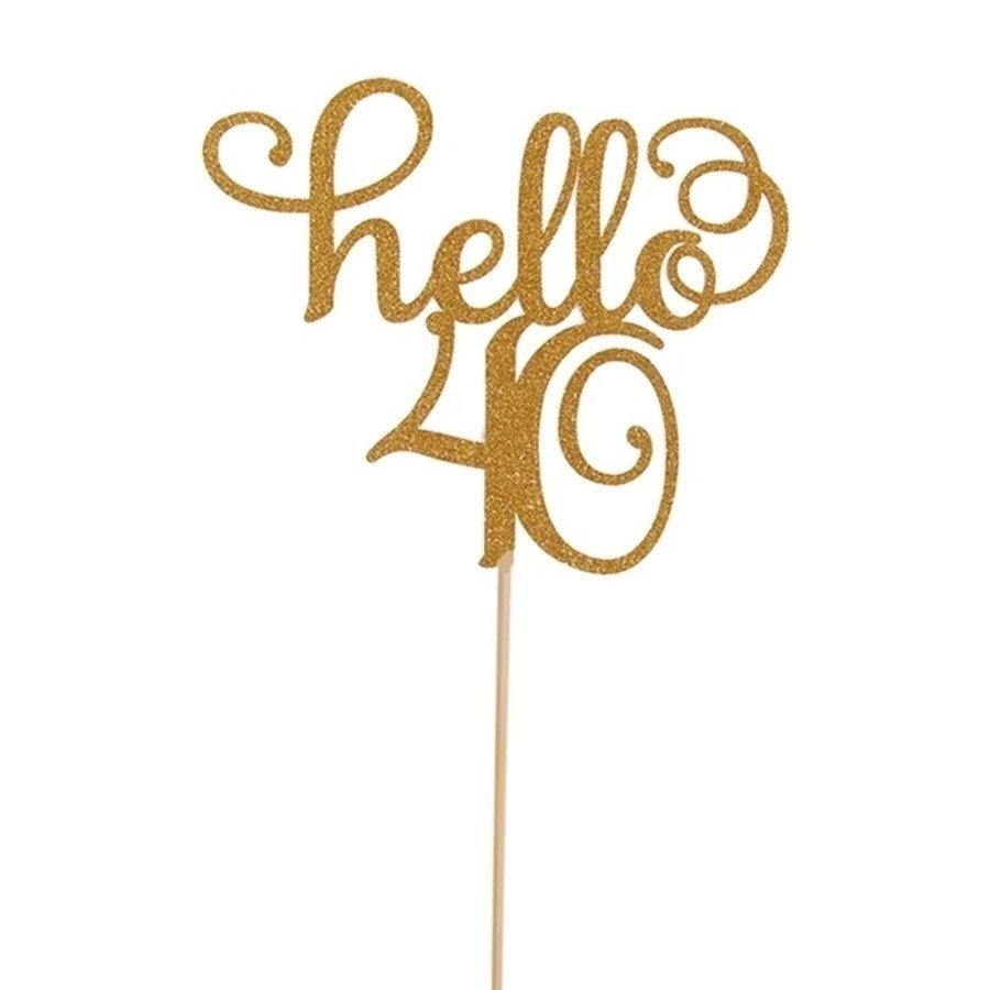 Hello 40 taart topper glitter goud-1