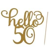 Hello 50 taart topper glitter goud