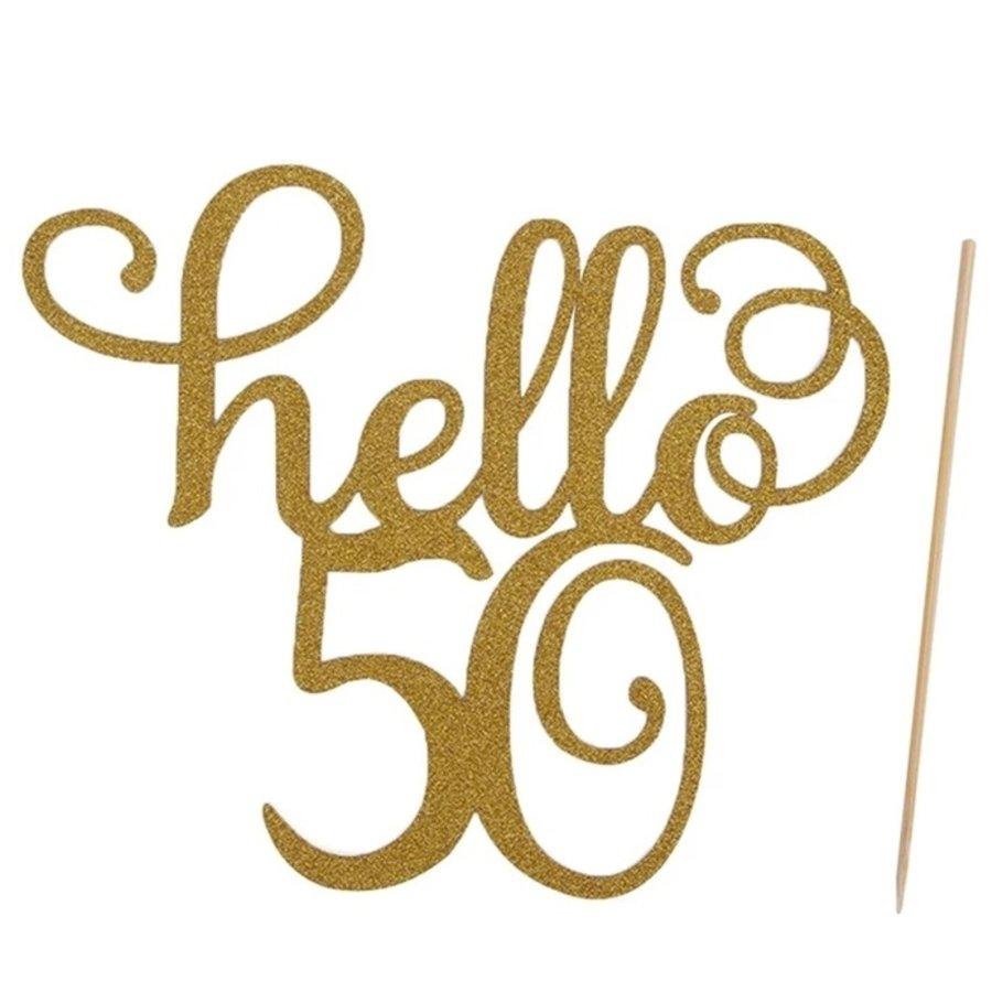 Hello 50 taart topper glitter goud-1