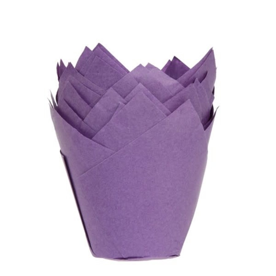 House of Marie Muffin Cups Tulp Paars pk/36-1