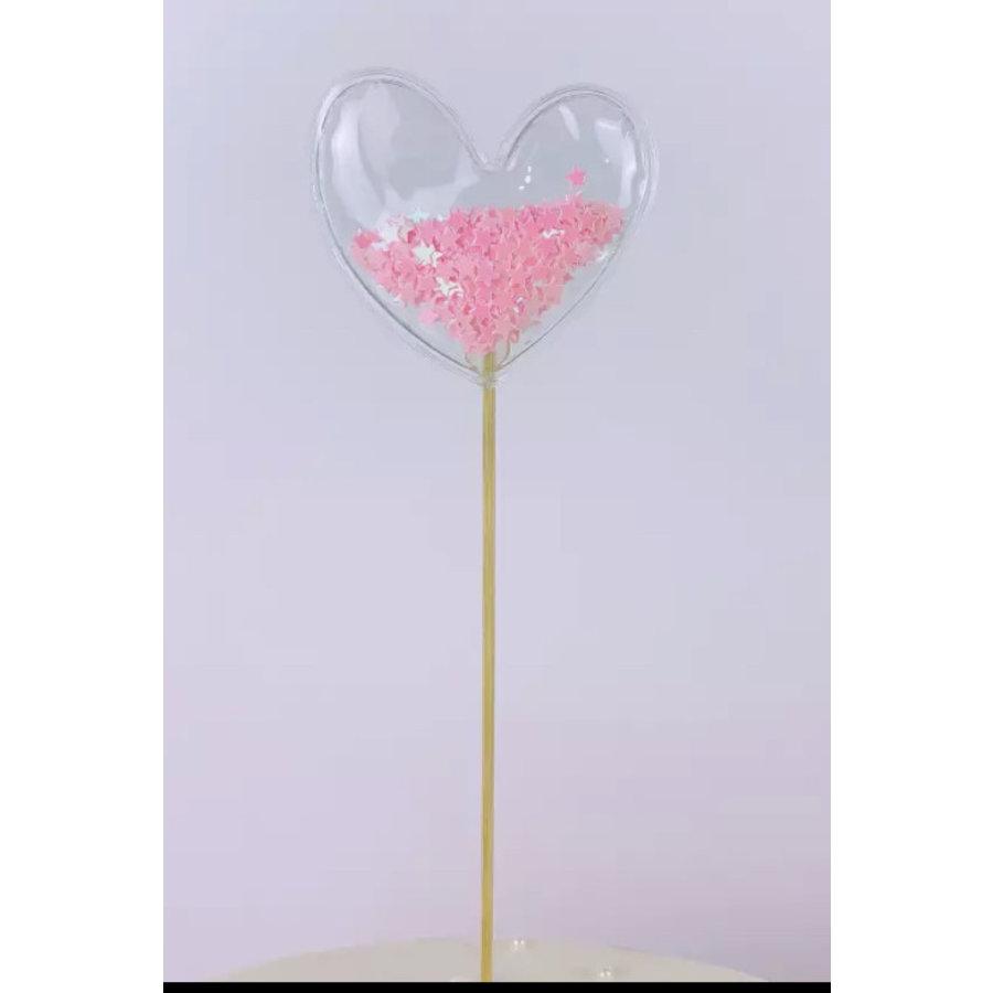 glitter prikker hart roze 6cm-1