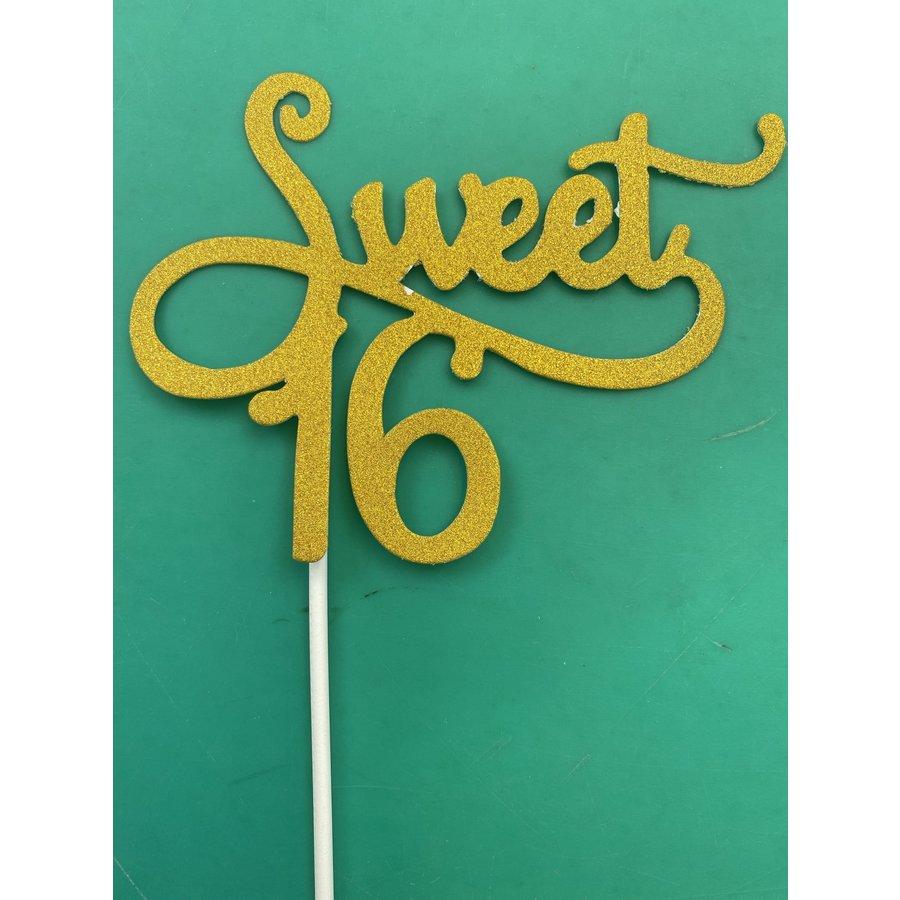 Sweet 16 topper goud-1
