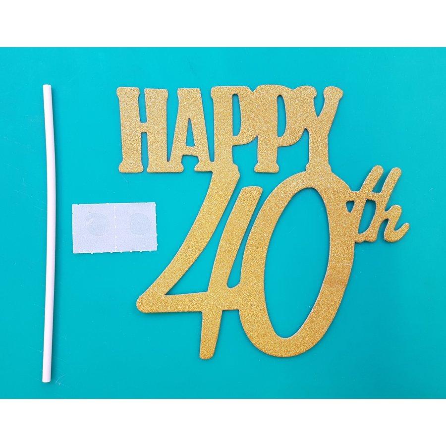 Happy 40th glitter goud-1