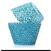 Cupcake wrapper kant look blauw 10 stuks