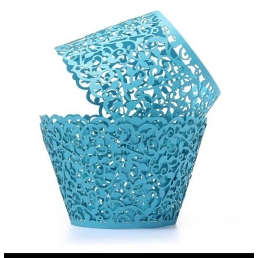 Cupcake wrapper kant look blauw 10 stuks-1