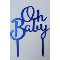 Oh baby topper fel blauw acryl