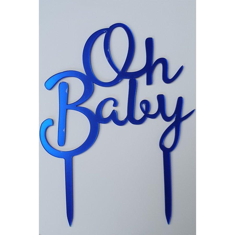 Oh baby topper fel blauw acryl-1