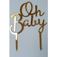 Oh baby topper goud acryl
