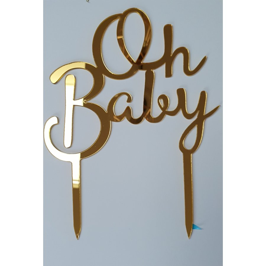 Oh baby topper goud acryl-1