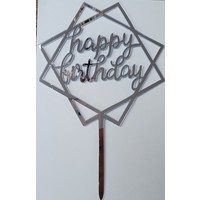 Cake topper Happy Birthday dubbel vierkant zilver acryl