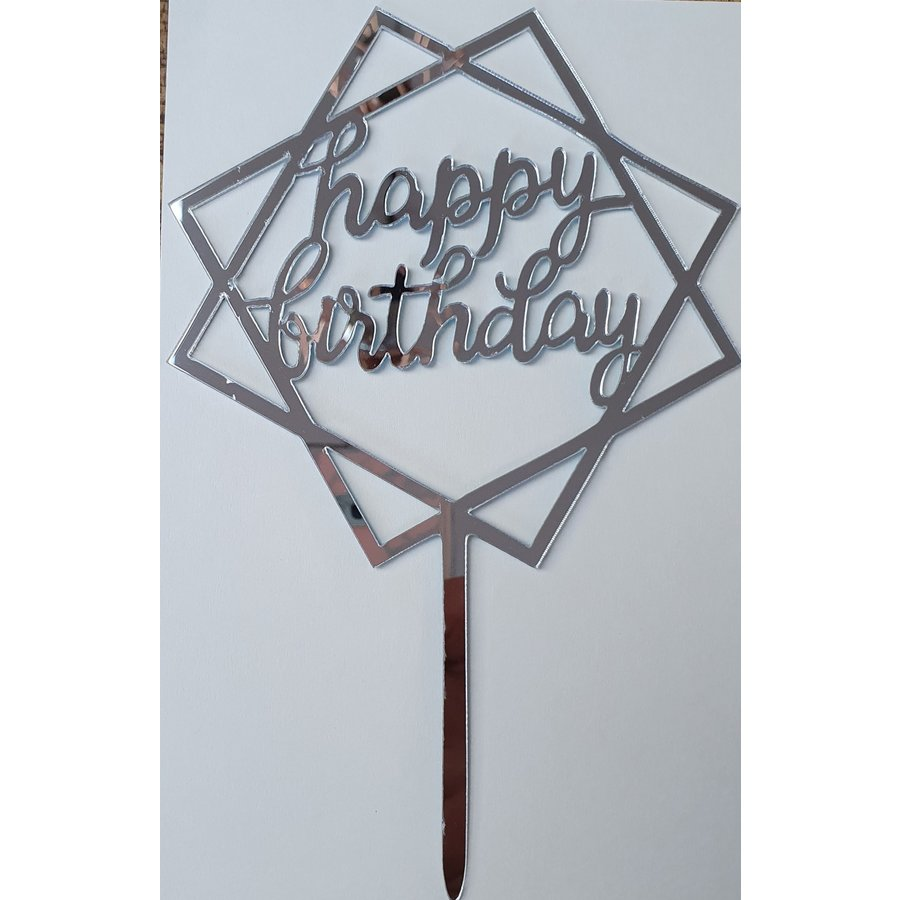 Cake topper Happy Birthday dubbel vierkant zilver acryl-1