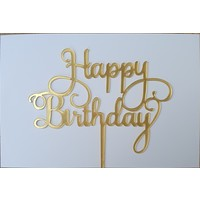 Cake topper Happy Birthday barok goud acryl