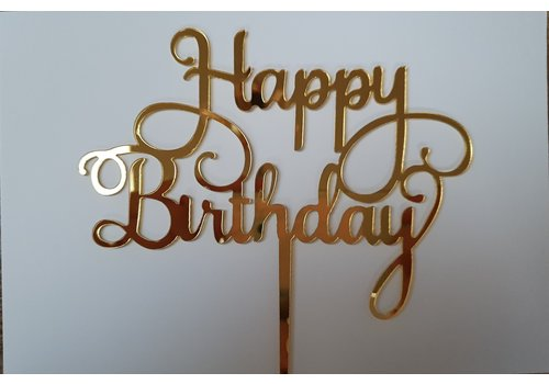 Cake topper Happy Birthday goud acryl