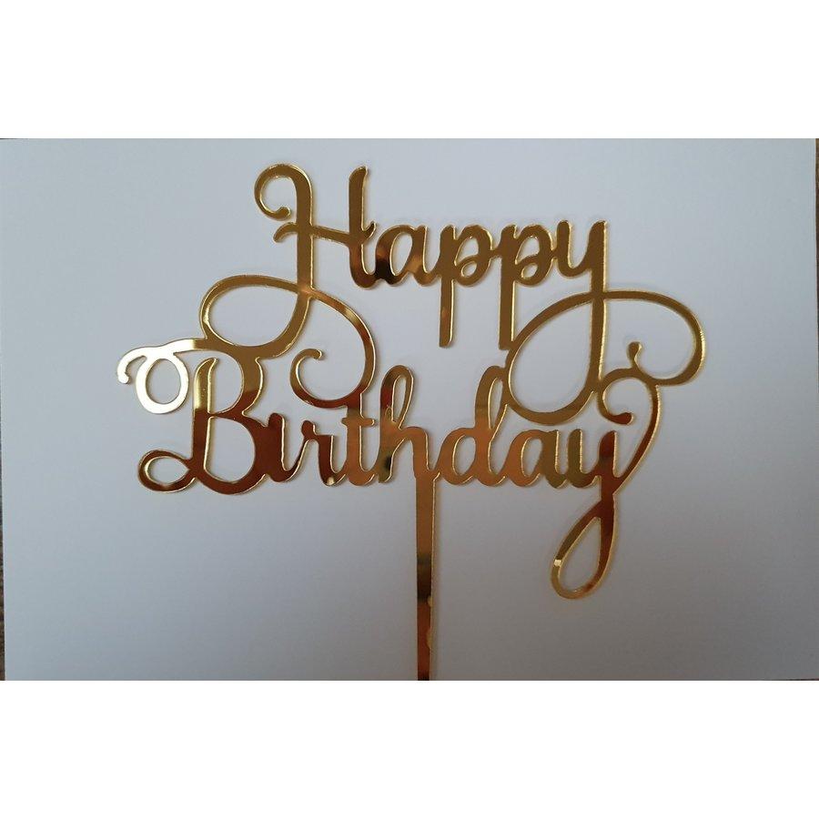 Cake topper Happy Birthday goud acryl-1