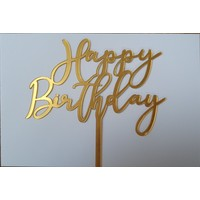 Cake topper Happy Birthday goud  art deco acryl