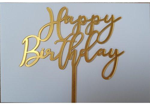 Cake topper Happy Birthday goud  art deco acryl