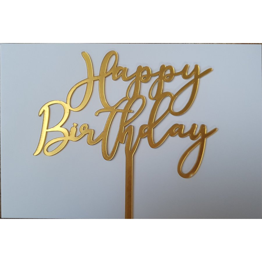 Cake topper Happy Birthday goud  art deco acryl-1