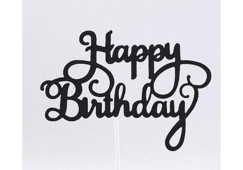 happy birthday topper zwart