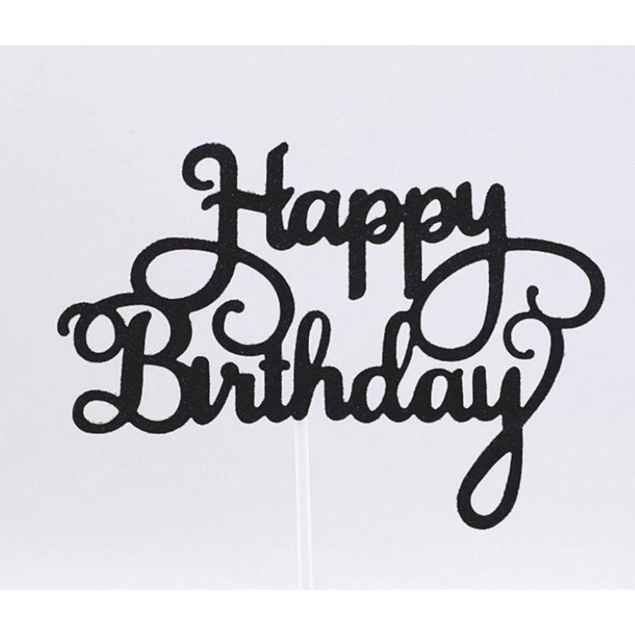 happy birthday topper zwart-1