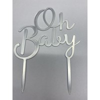 Oh baby topper zilver acryl