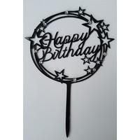 Happy birthday topper zwart sparkle