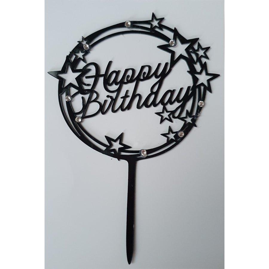 Happy birthday topper zwart sparkle-1