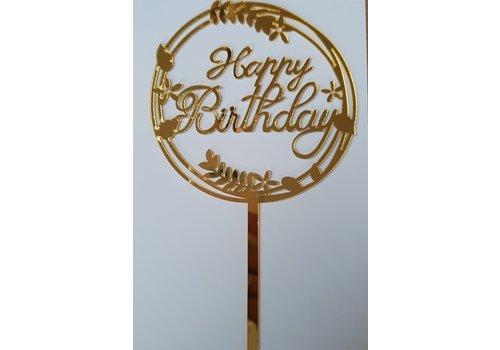 Cake topper Happy Birthday goud bloem acryl
