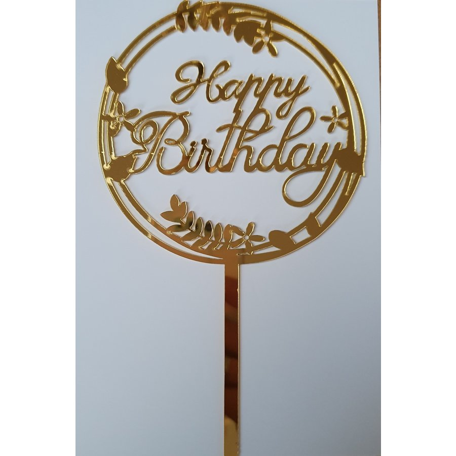 Cake topper Happy Birthday goud bloem acryl-1