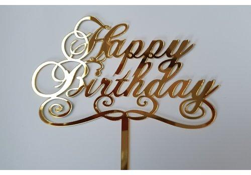 Cake topper Happy Birthday goud klassiek acryl