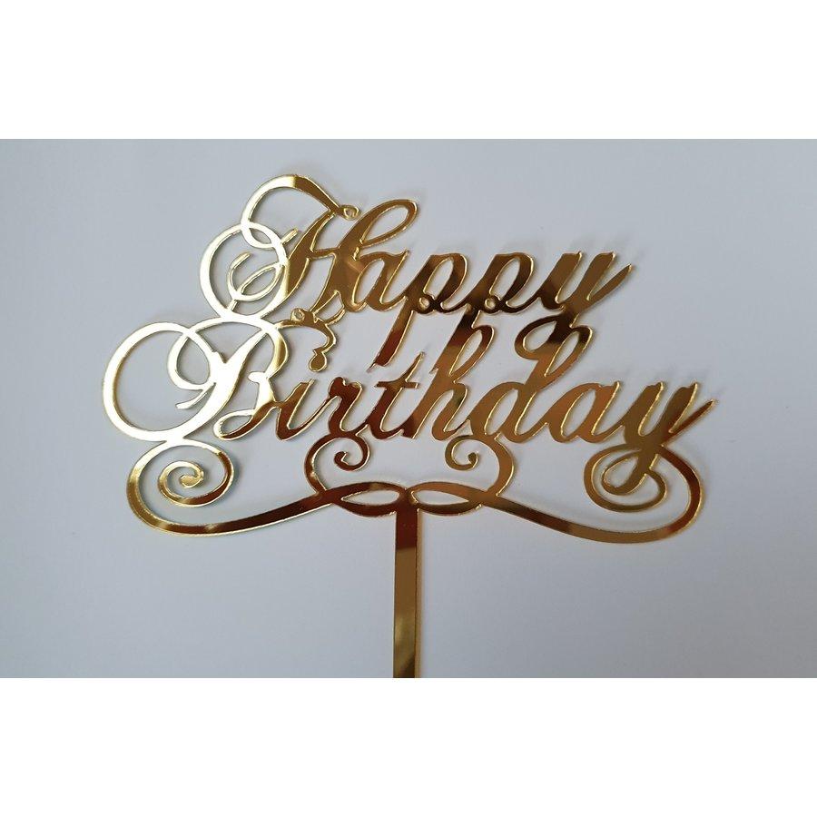Cake topper Happy Birthday goud klassiek acryl-1